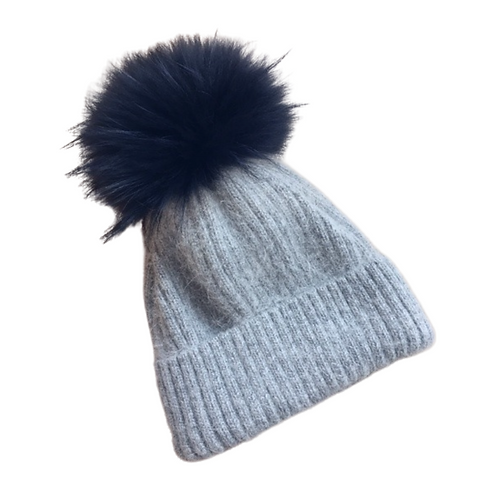 Linda Richards Mohair and Wool Hat in Grey with Navy Fur Pom
