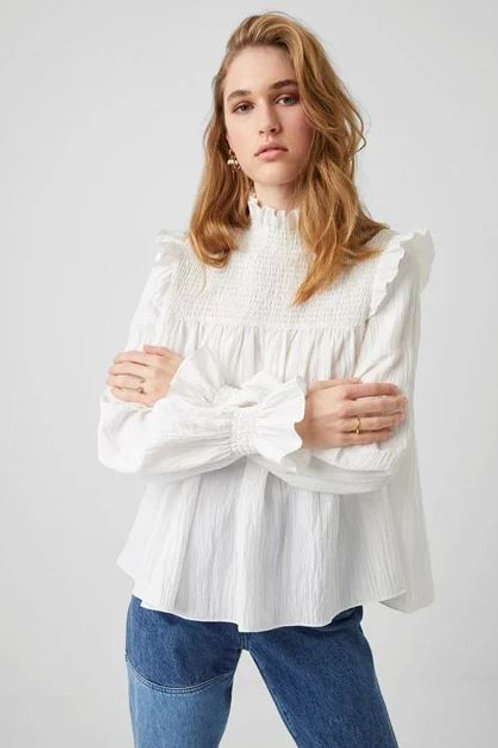 French Connection Boza Crinkle Smocked Neck Top