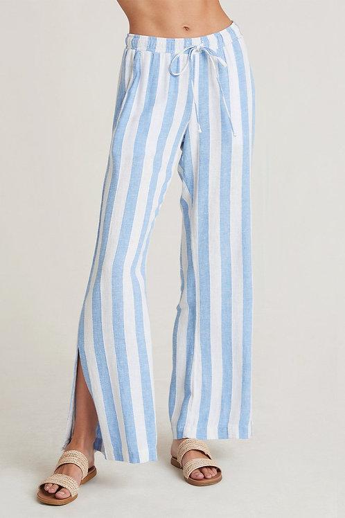 Bella Dahl Side Slit Wide Leg Pant in Sky Blue Stripe