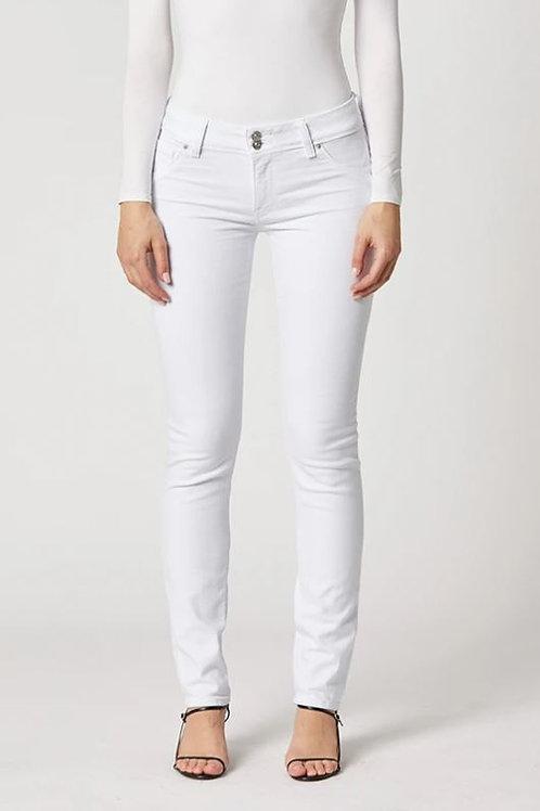 Hudson Collin Mid-Rise Skinny Jean in White