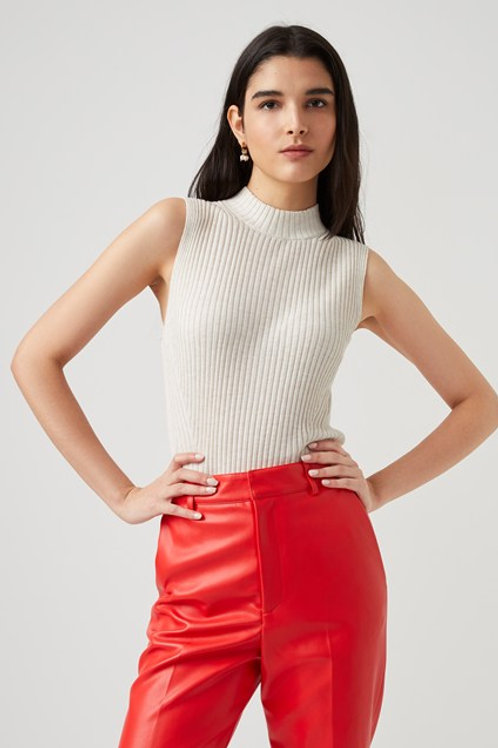 French Connection Judie Ribbed Mock Neck Top