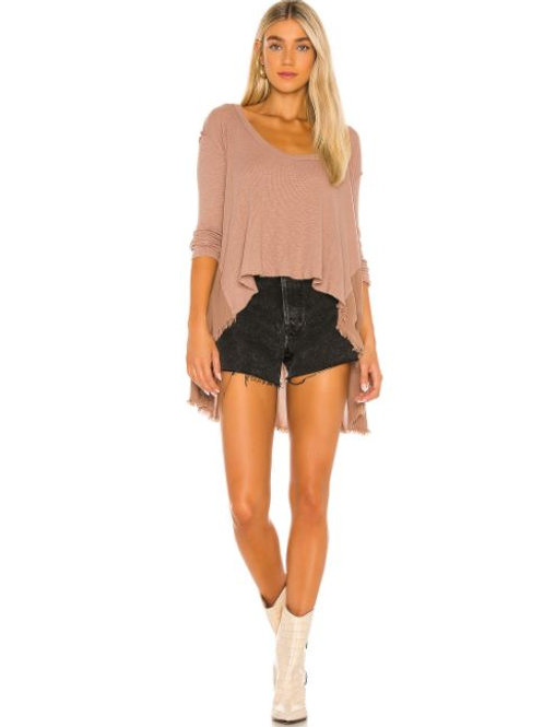Free People TT Special Waffle Knit High Low Top