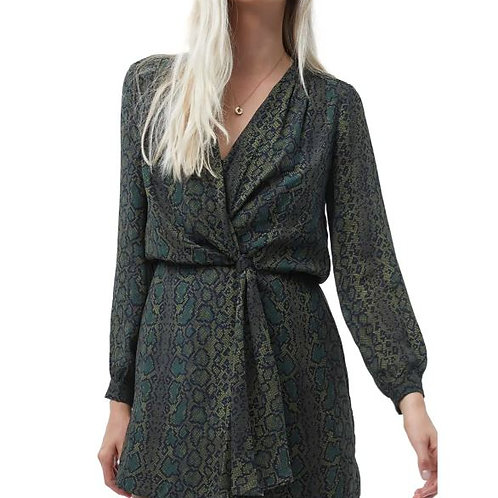 French Connection Ariel Drape Knot Dress in Green Multi Snake