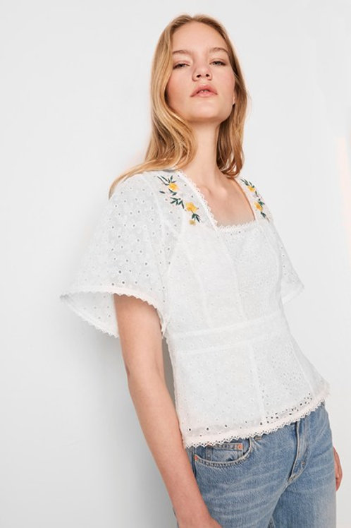 French Connection Eka Embroidered Top