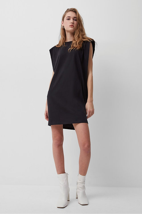 French Connection Shoulder Pad Jersey Dress in Black