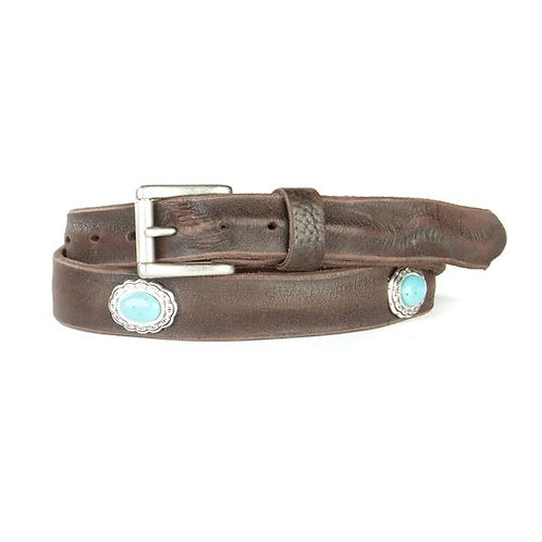 Brave Leather Freja Skinny Leather Belt with Turquoise