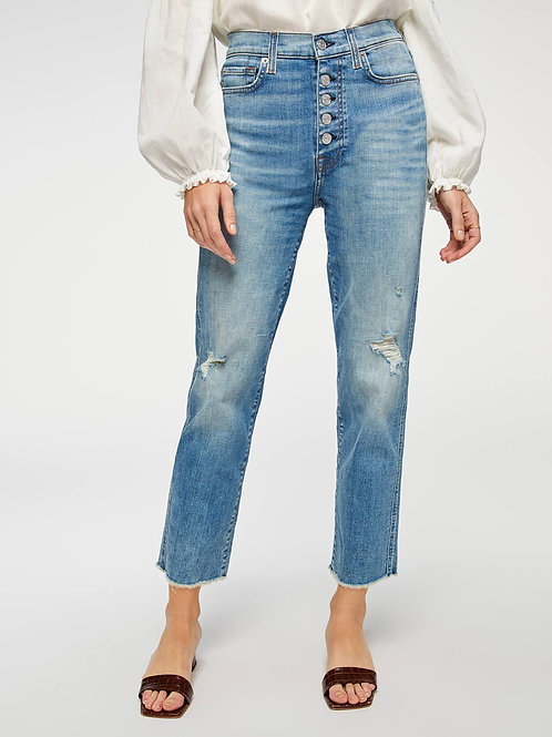 7 for All Mankind High Waist Cropped Straight Jean with Frayed Hem