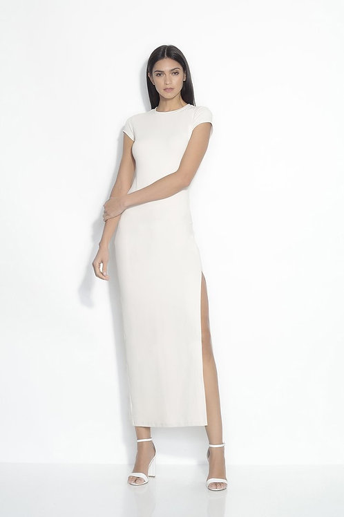 Susana Monaco Short Sleeve Slit Maxi Dress in Blanched Almond