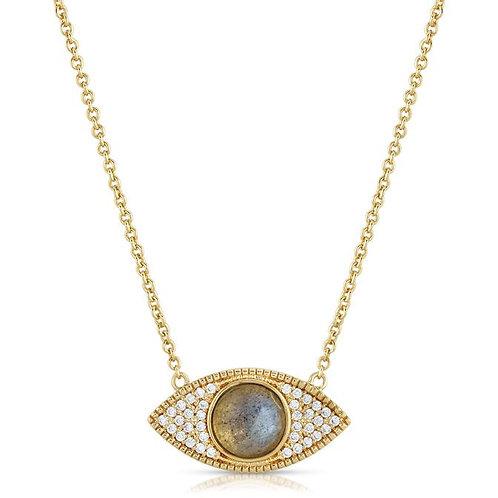 Elizabeth Stone Gemstone Evil Eye Necklace