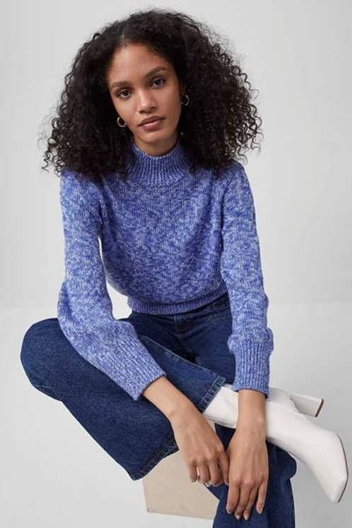French Connection Lora Mock Neck Sweater in Bay Blue Multi