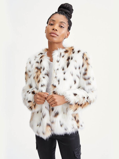 7 for all Mankind Short Faux Fur Coat in Snow Leopard