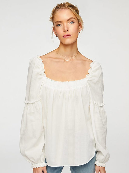 7 for All Mankind Square Neck Blouse with Sleeve Ruffle