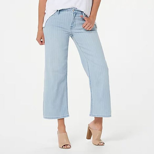 JEN7 by 7 For All Mankind Crop Wide Leg Jeans In Pinstripe