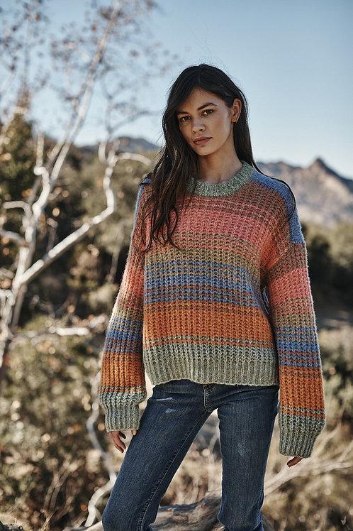 Velvet by Graham & Spencer Raven Striped Crewneck Sweater