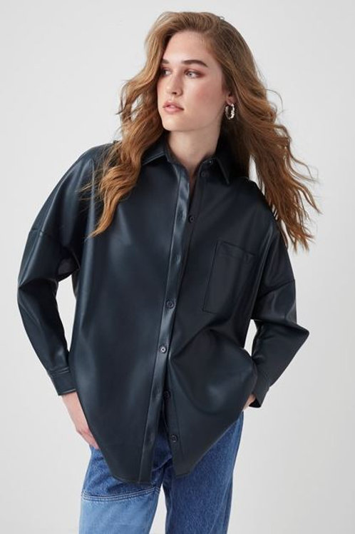 French Connection Crolenda Faux Leather Button Down