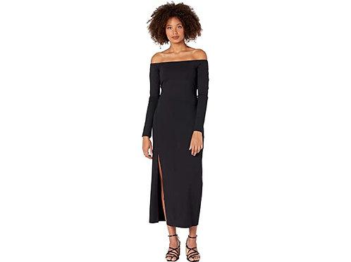 Susana Monaco Long Sleeve Off Shoulder Slit Midi Dress in Black
