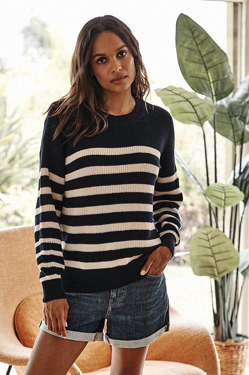Velvet by Graham & Spencer Wren Textured Cotton Sweater in Navy/Ecru