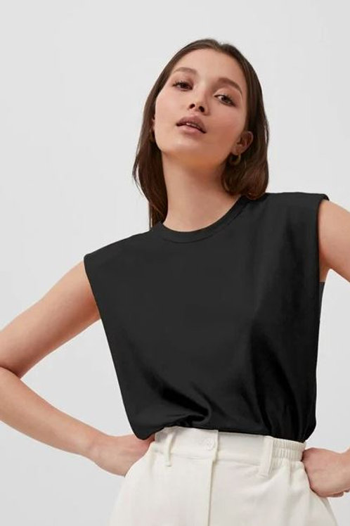 French Connection Shoulder Pad Crepe Tank Top