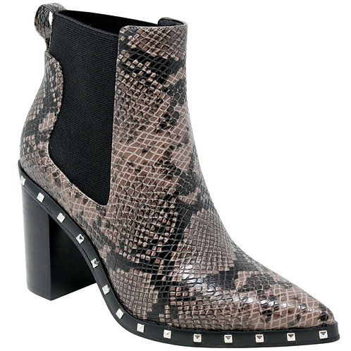 Charles by Charles David Dodger Studded Chelsea Bootie in Taupe Snake
