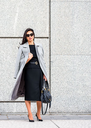 black-power-dress-roland-mouret-light-grey-coat
