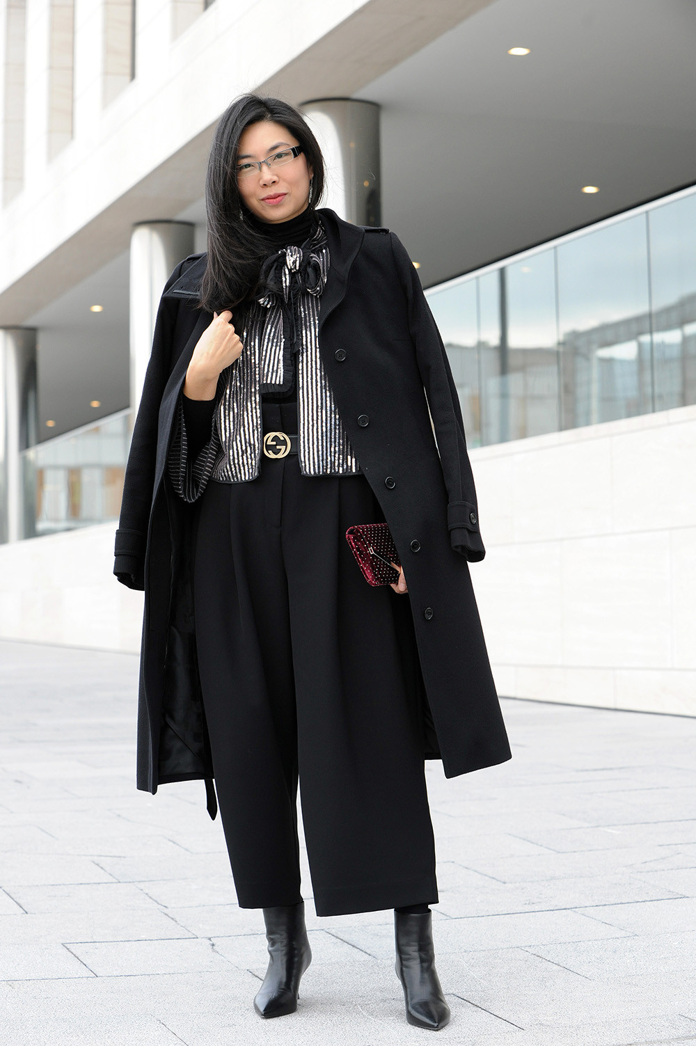 Black Burberry wool and cashmere coat.