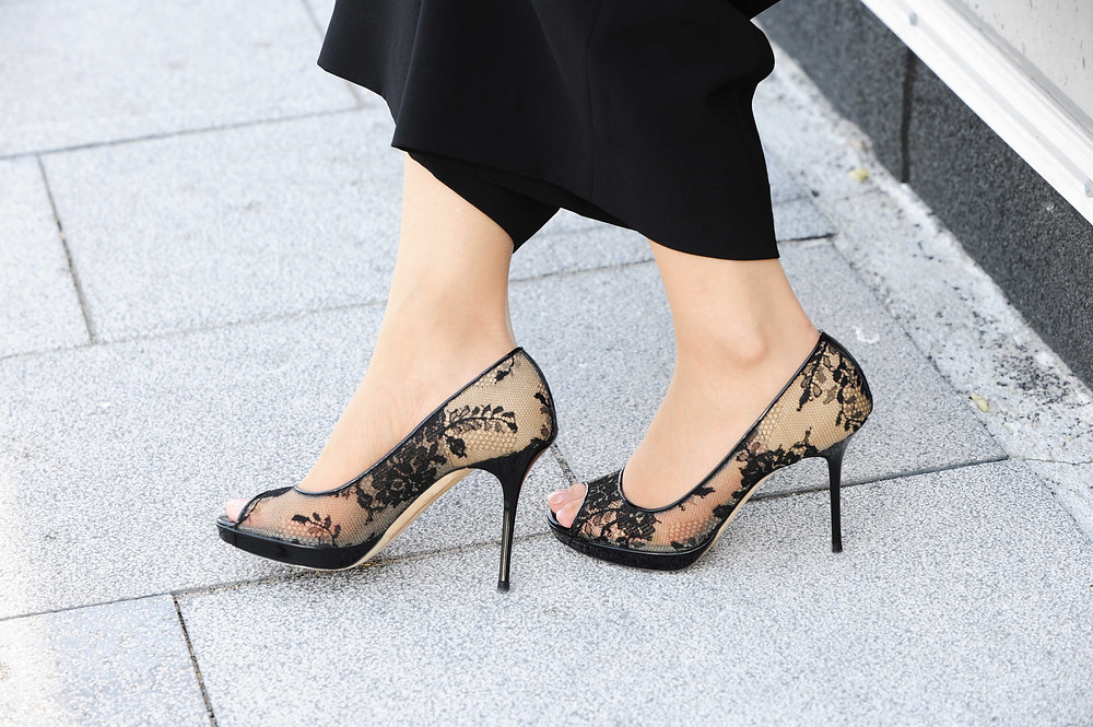 Black lace Jimmy Choo pumps