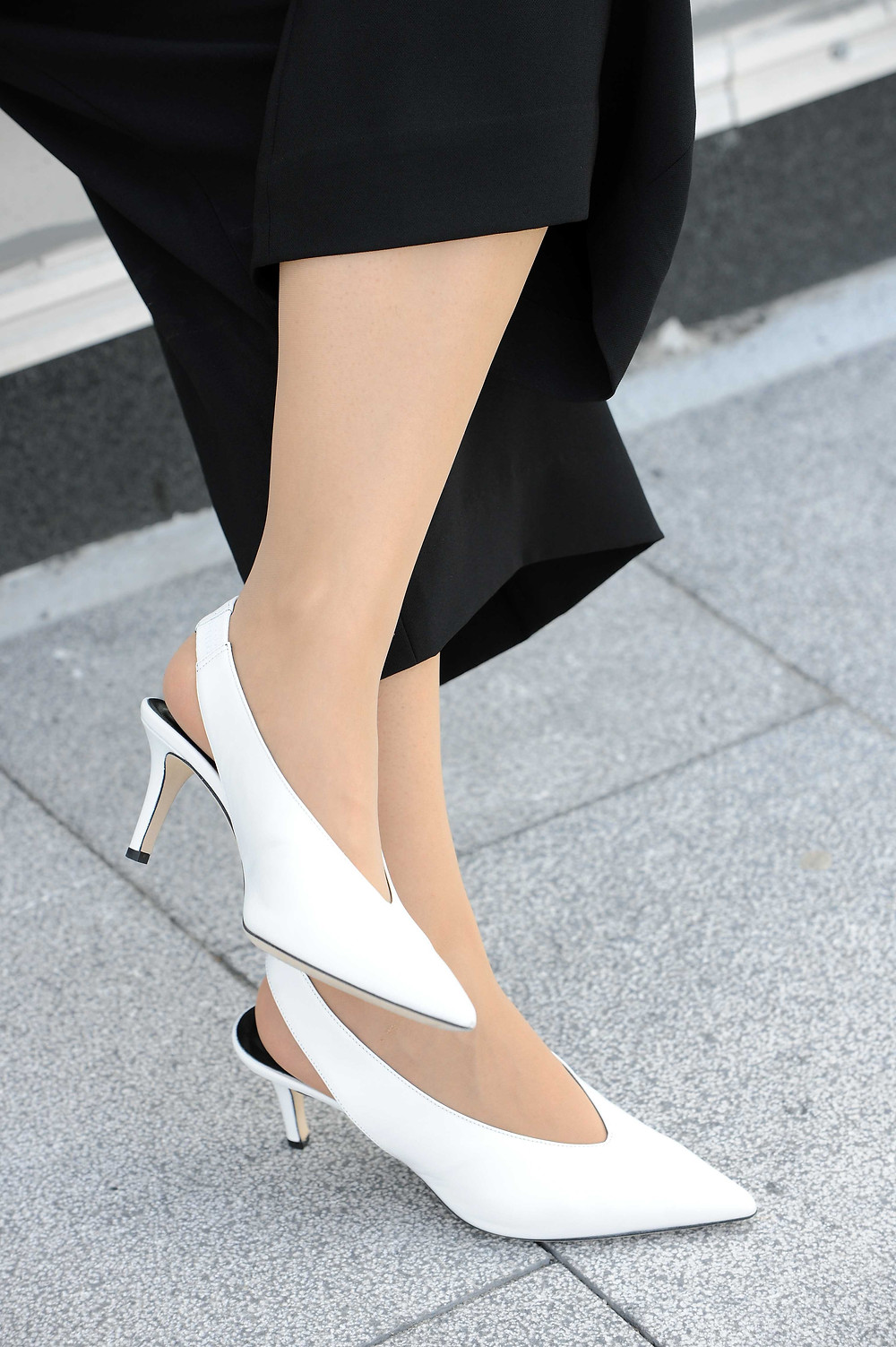 The Atto white leather sling-back pumps from M. Gemi