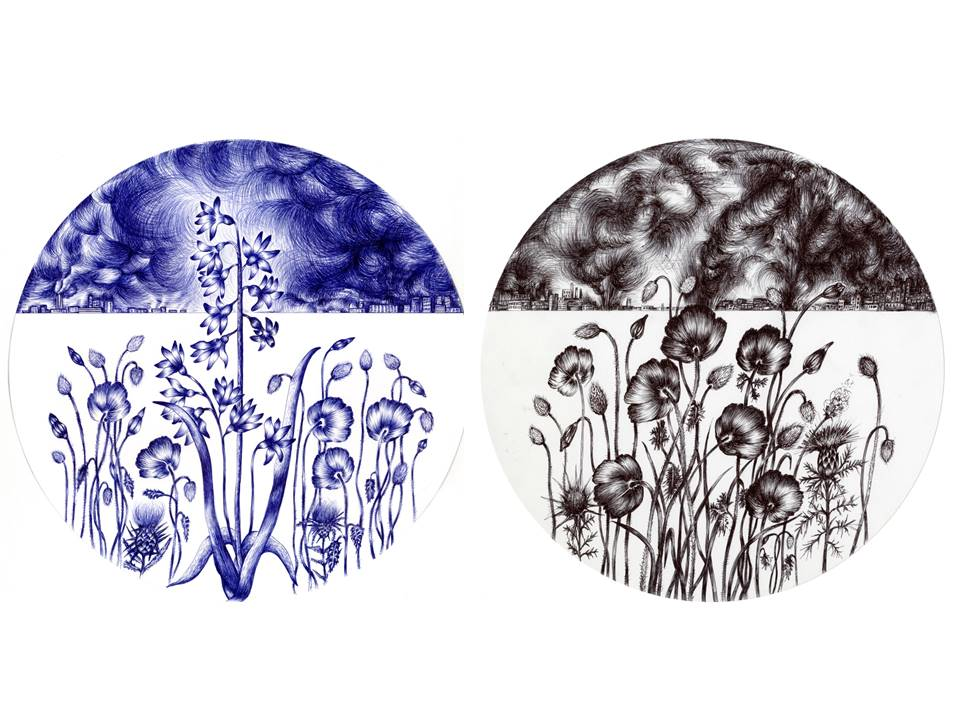 two round paintings