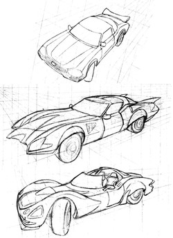 Car pencil sketches