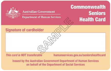 Concession cards for self funded retirees