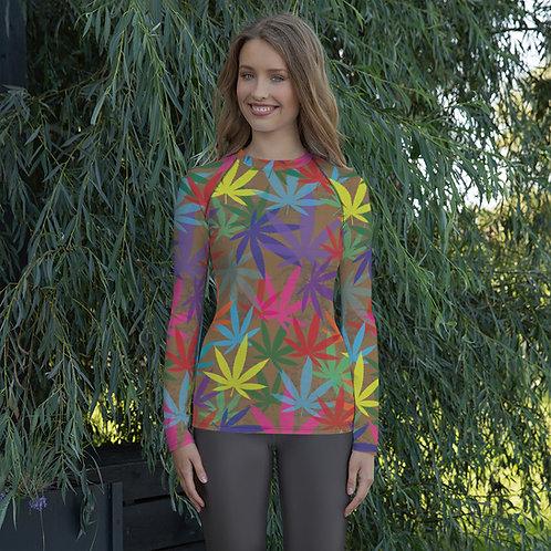 90 to Zambo Marijuana Print Women's Rash Guard