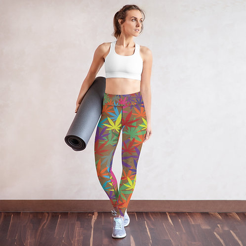 90 to Zambo Marijuana Print Yoga Leggings