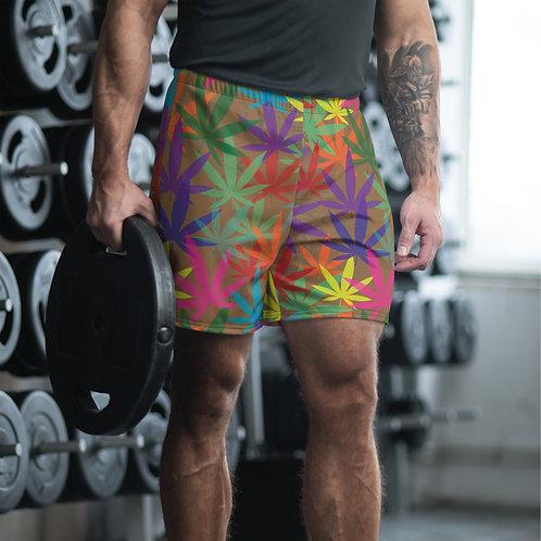 90 to Zambo Marijuana Print Men's Athletic Long Shorts