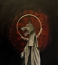 Wolf headed saint in a white robe, black background and blood red cloud, gold leaf halo
