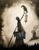 A dark robed skeleton sage, carrying a staff and a lanternm where a crow is perched and an open book while a smouldering black stone tower is in the background
