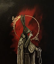 Rabbit headed saint, making a quiet motion with his finger to his mouth, black background and blood red cloud, gold leaf halo