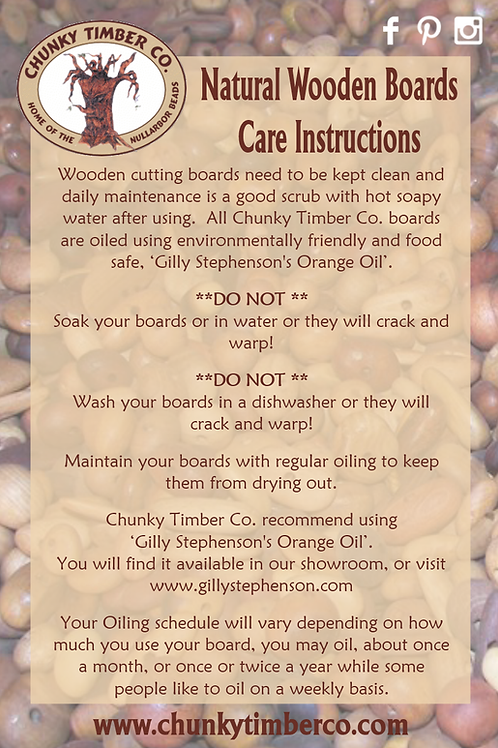 Natural Wooden Boards Care Instructions