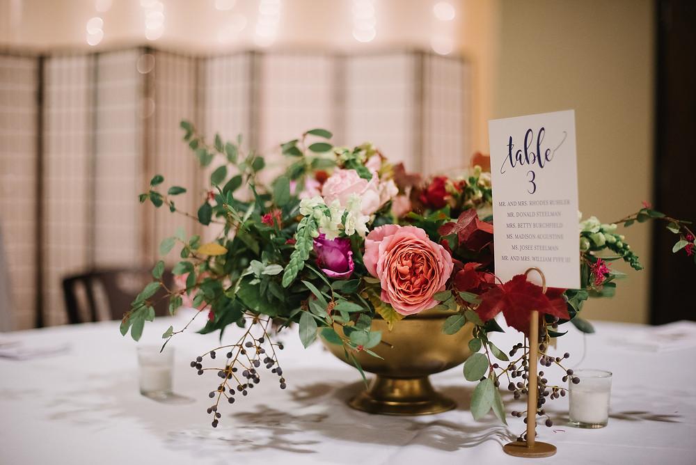 flowers table wedding planner