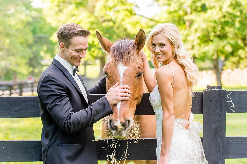 bride groom horse