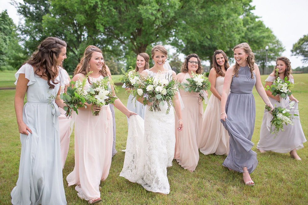 joyful bride, maids, wedding bouquets, auburn, al