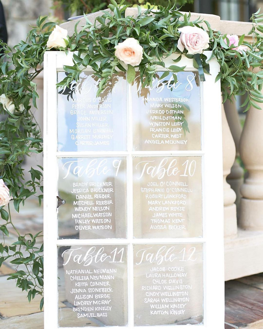wedding chart flowers