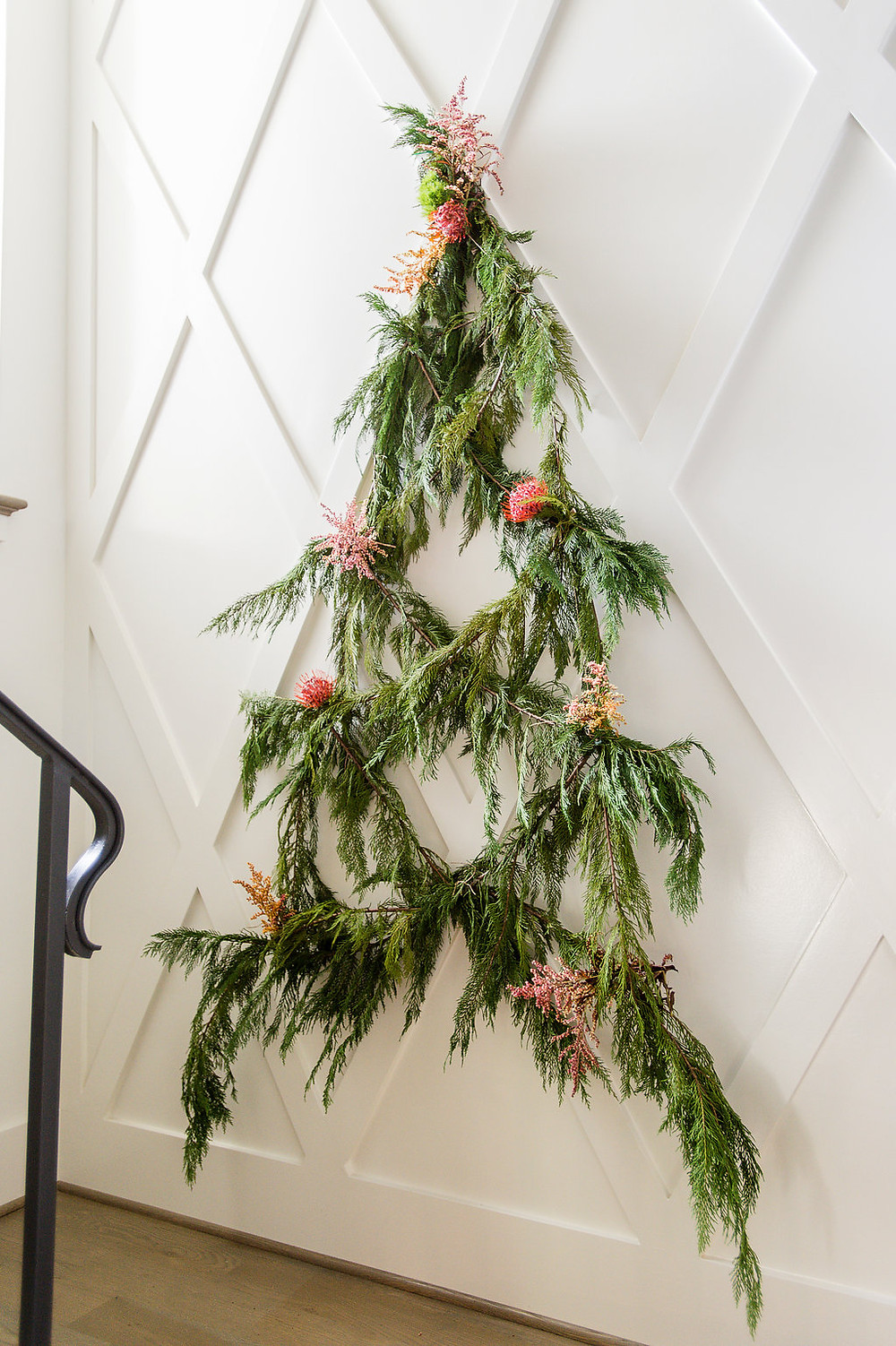 holiday greenery with flowers decor
