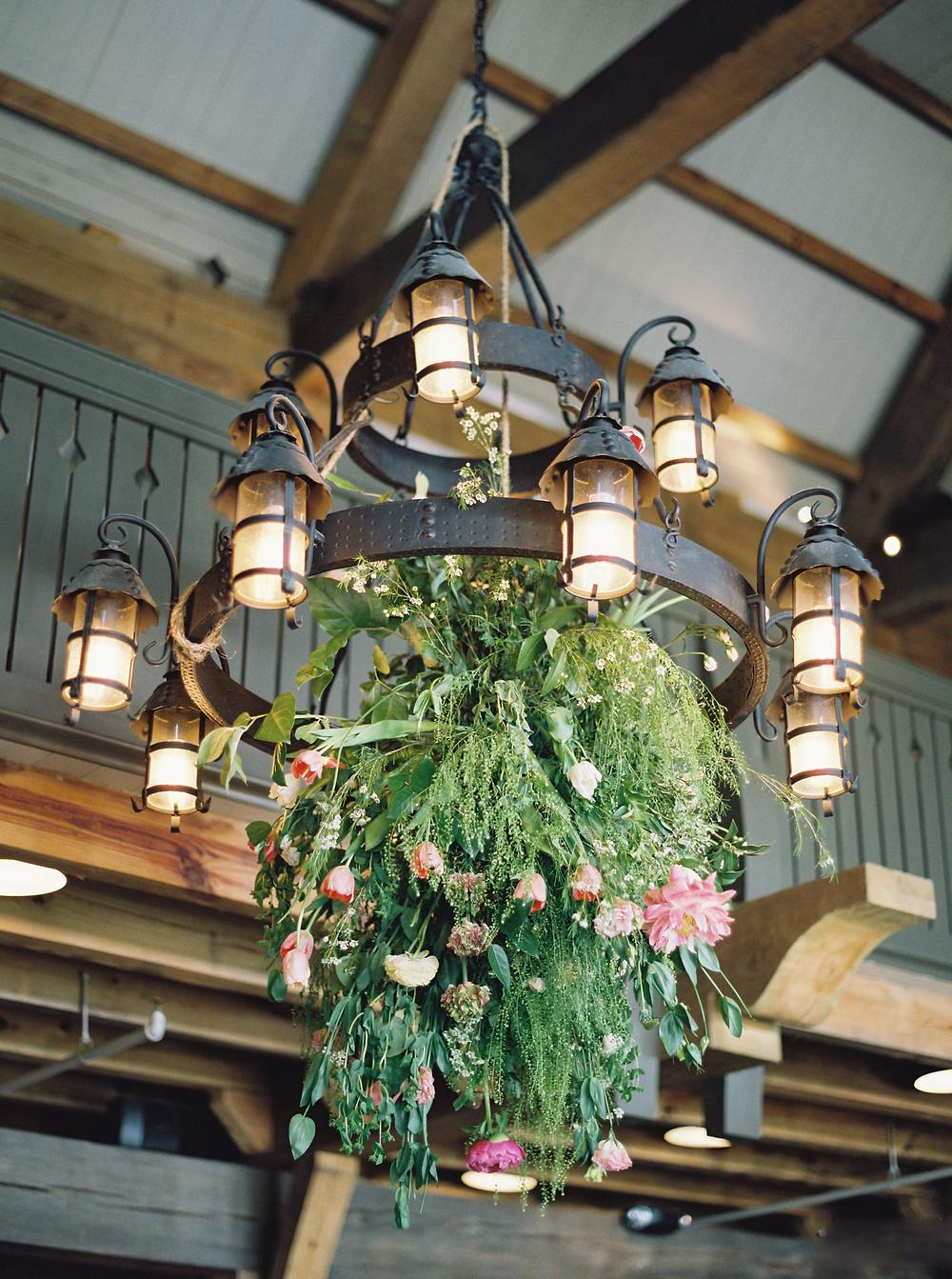 alabama wedding floral chandelier lake martin