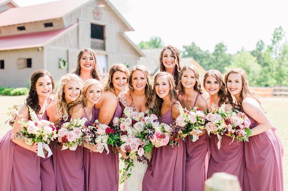 bride bouquet bridesmaids lake martin thorne and thistle
