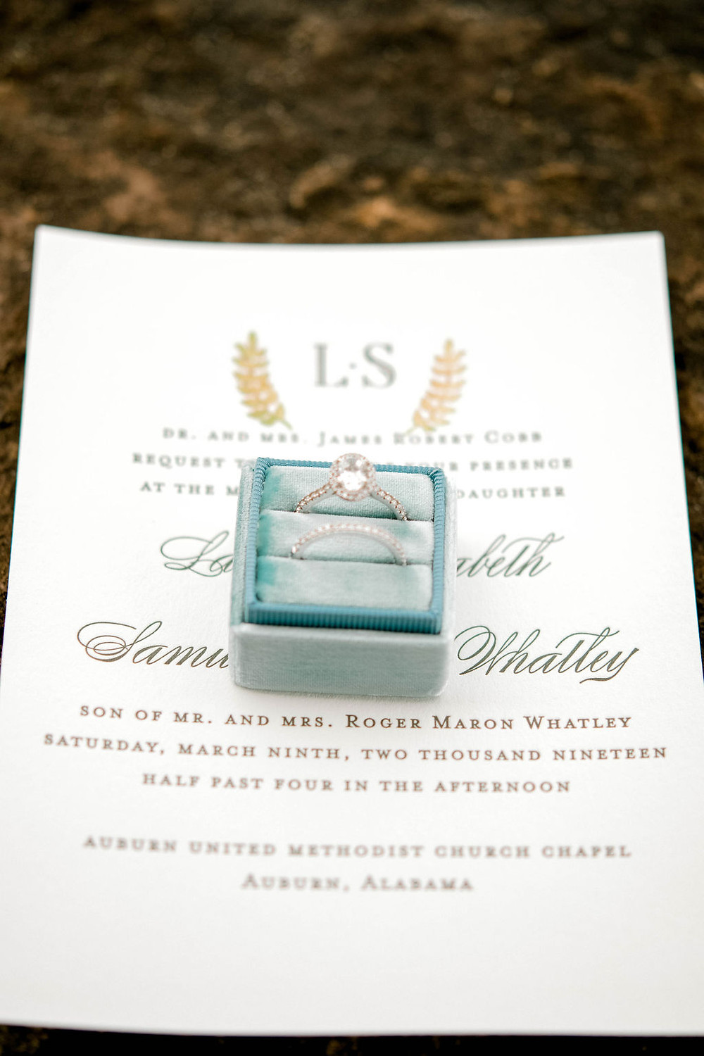 Auburn Alabama wedding ring, invitation