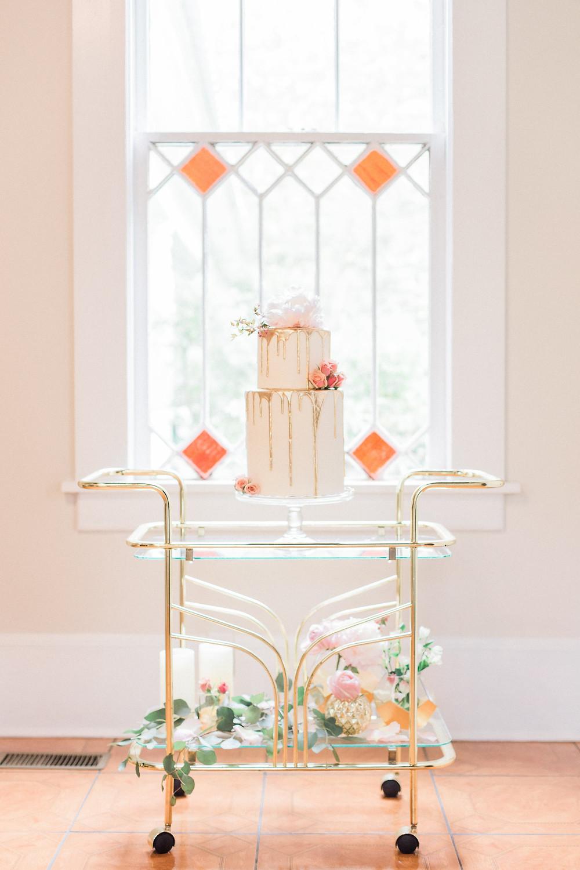 wedding cake flowers on cart