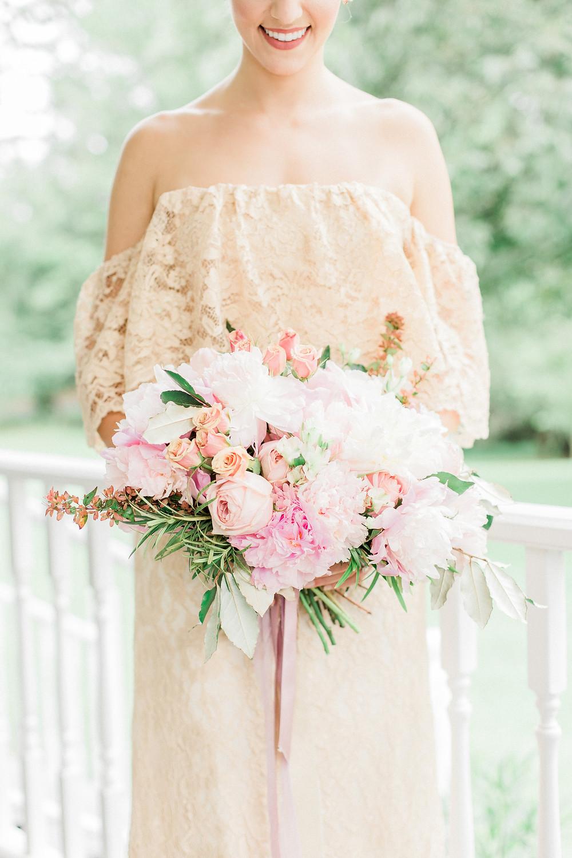 wedding bouquet peonies roses