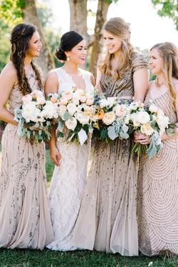 auburn bride and brides maids