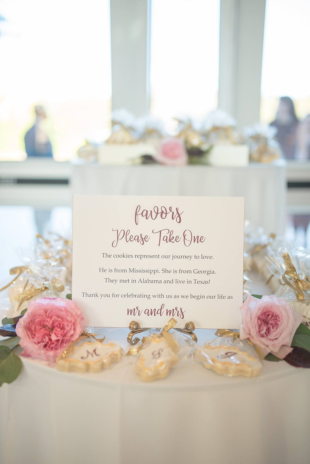 wedding cookie favors planner styled with flowers