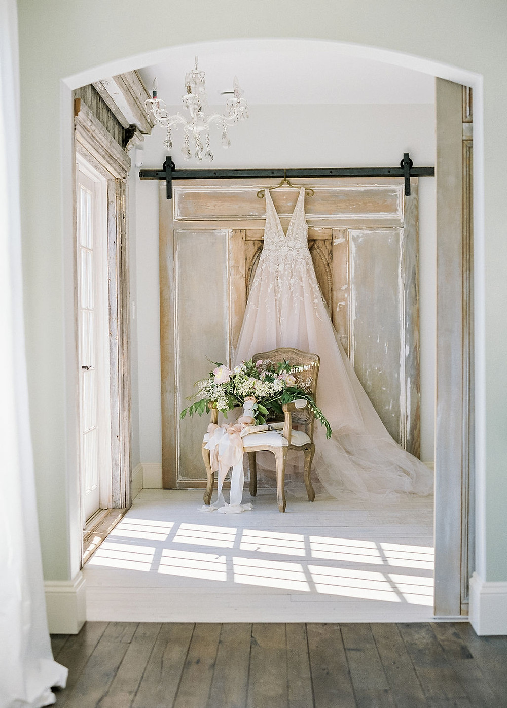 wedding dress, flowers seaside destination